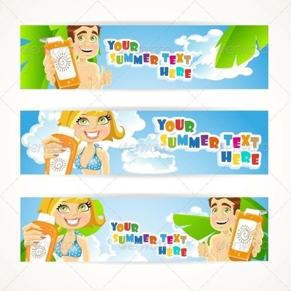Sunny Summer Banner with Young People