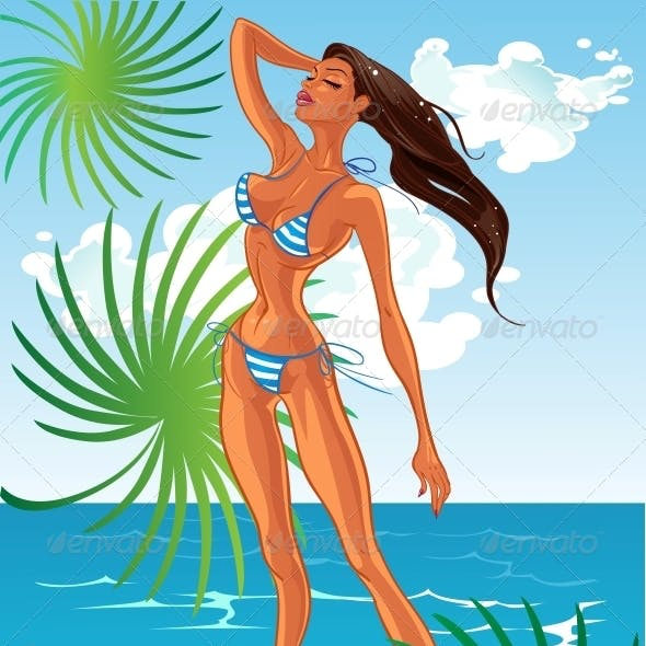 Tan Lady in Swimsuit at Sunny Beach