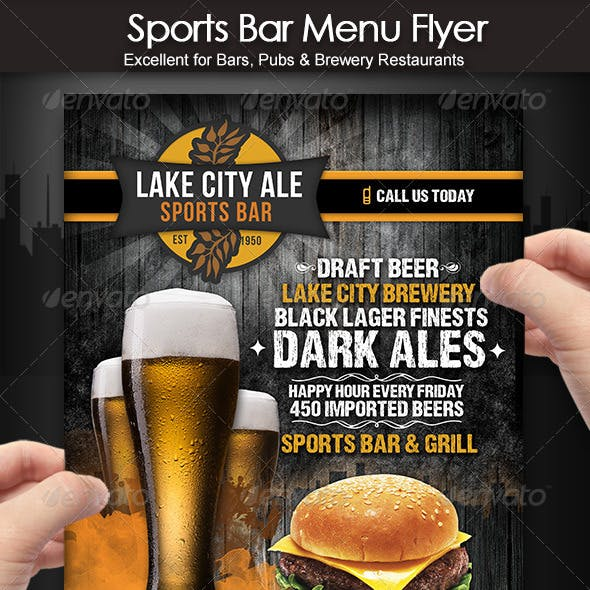 Sports Bar Menu Flyer