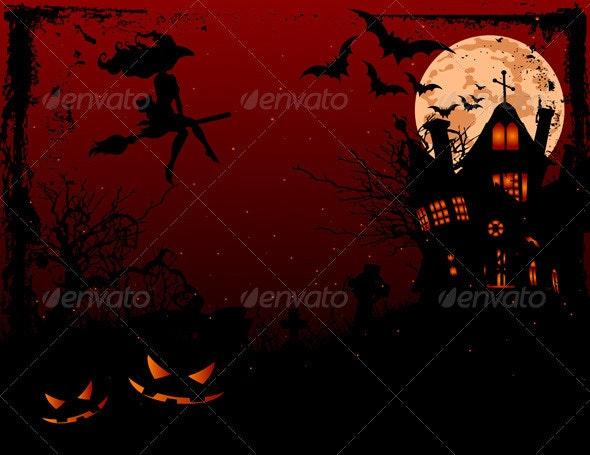 Halloween illustration of haunted house   - Halloween Seasons/Holidays