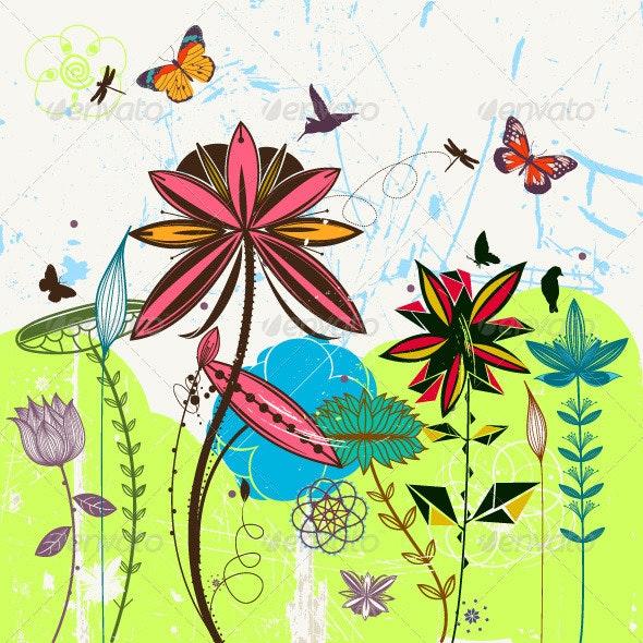Vintage Flower Card - Flowers & Plants Nature