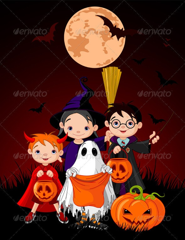 Halloween background with   trick or treating chil - Halloween Seasons/Holidays