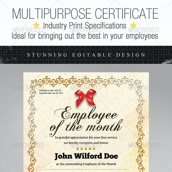 Multipurpose Certificates - Employee Edition