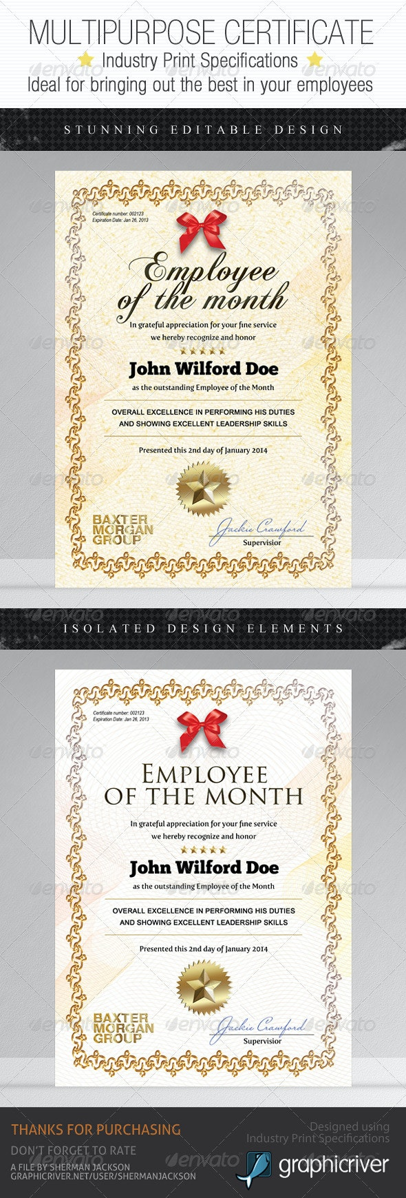 Multipurpose Certificates - Employee Edition - Certificates Stationery