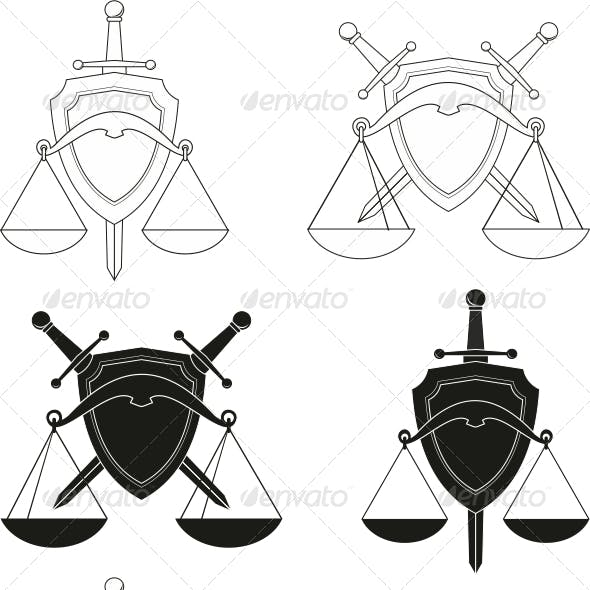 Emblems - symbols of law, order, justice, court