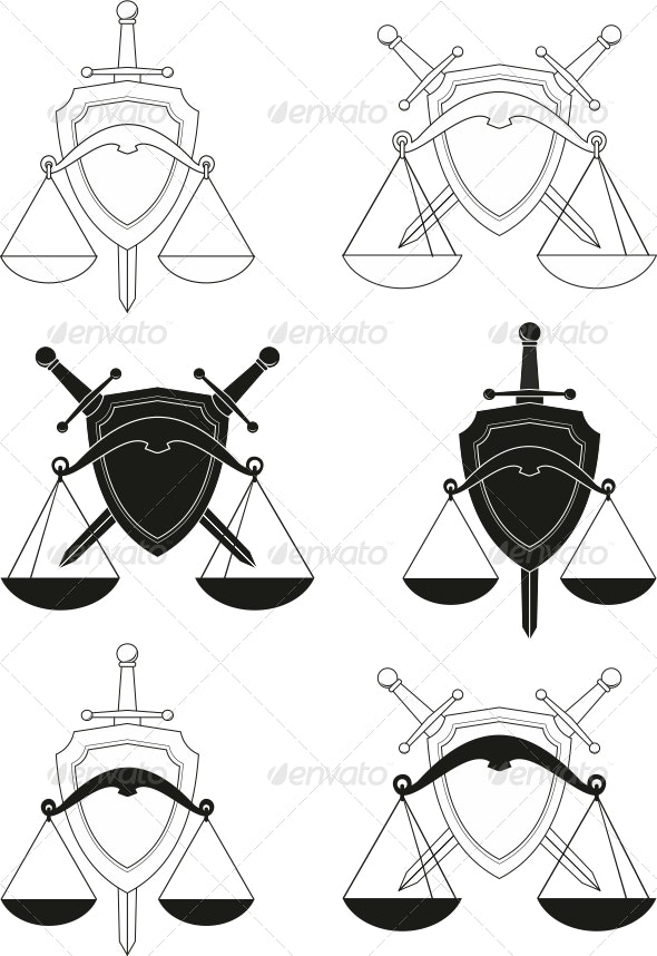 Emblems - symbols of law, order, justice, court - Decorative Symbols Decorative