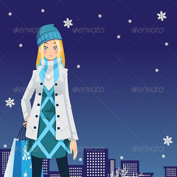 Winter Shopping Girl