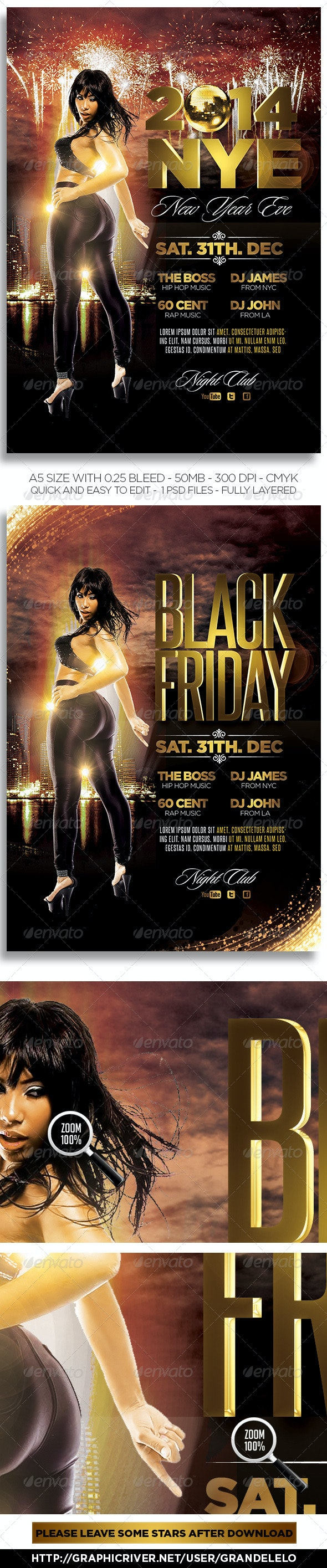 NYE 2014 Flyer n Black Friday - Clubs & Parties Events