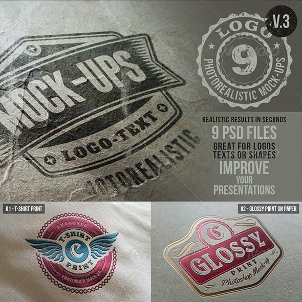 Photorealistic Logo Mock-Ups Vol.3