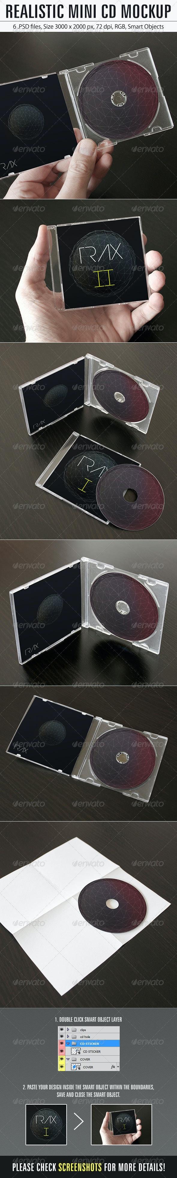 Realistic Mini CD Mockup - Product Mock-Ups Graphics