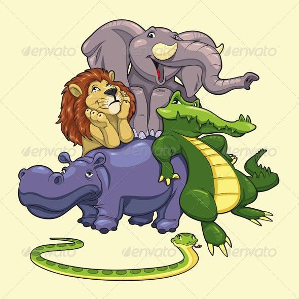 Group of animals of savannah.