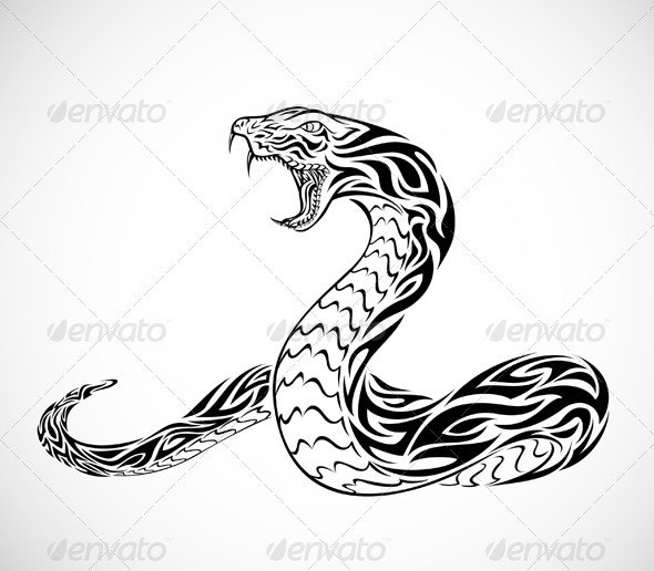 Tribal Snake Tattoo - Animals Characters
