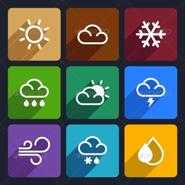 Weather Flat Icons Set 27