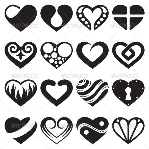 Heart Icons and Signs Set