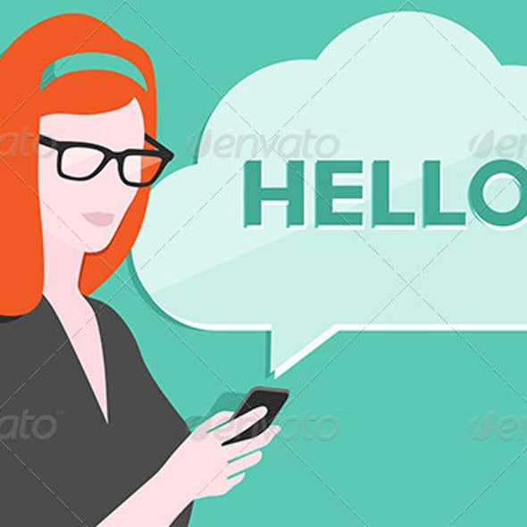 Woman with Smartphone Illustration
