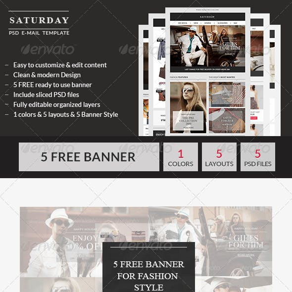 Saturday - E-Commerce PSD Email Template