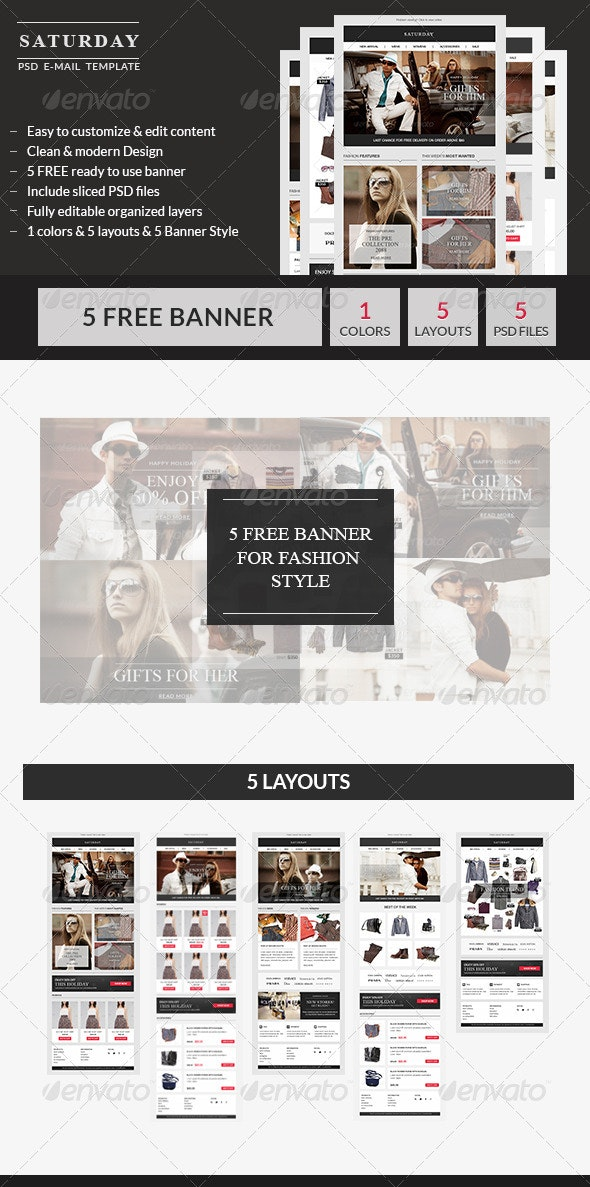 Saturday - E-Commerce PSD Email Template - E-newsletters Web Elements