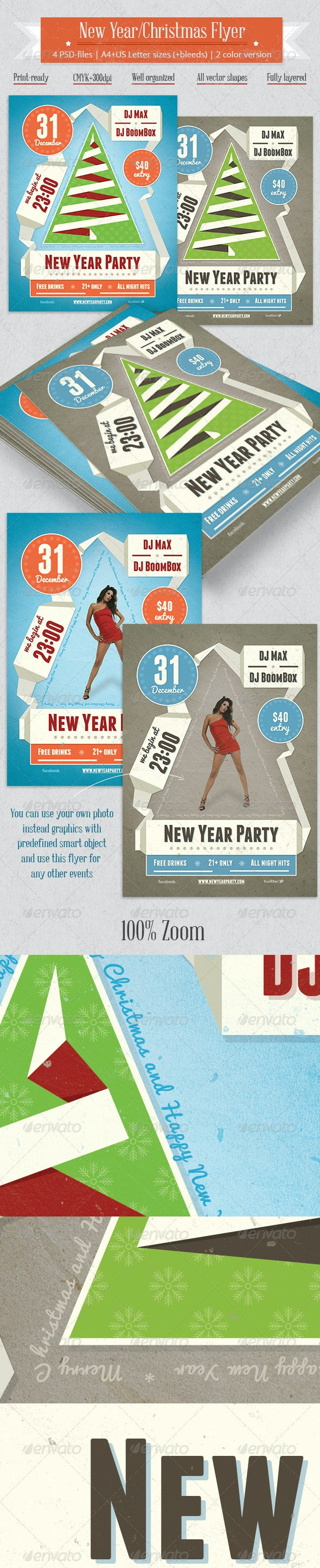 New Year/Party Flyer Vintage Ribbon Style - Clubs & Parties Events
