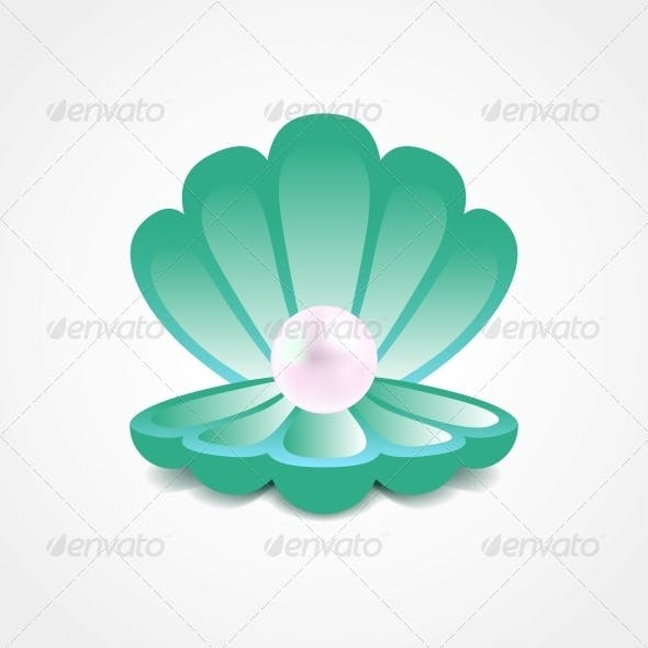 Sea Green Shell with a Pearl Inside