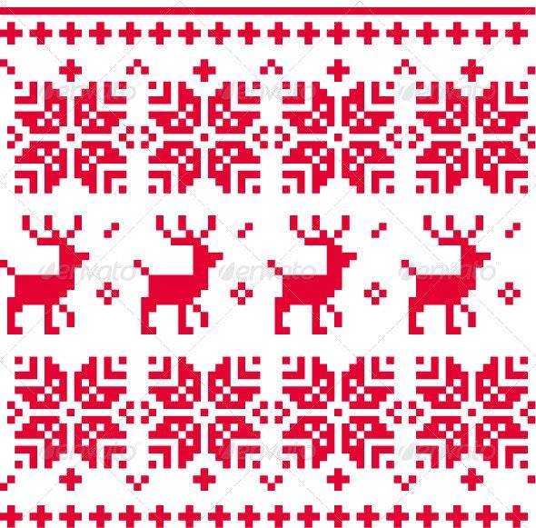 Nordic Seamless Knitted Christmas Pattern - Christmas Seasons/Holidays