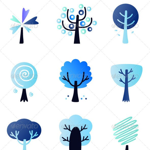 Abstract Winter Vector Trees Set