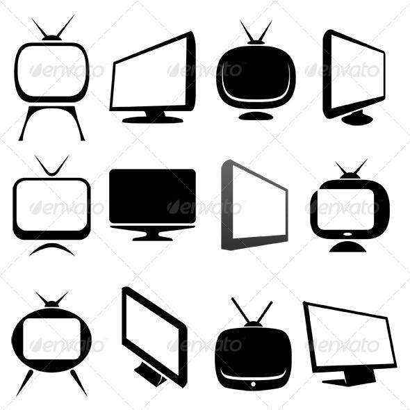 Television Receivers Icons Set