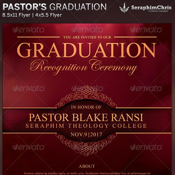 Elegant Pastor's Graduation Flyer Template