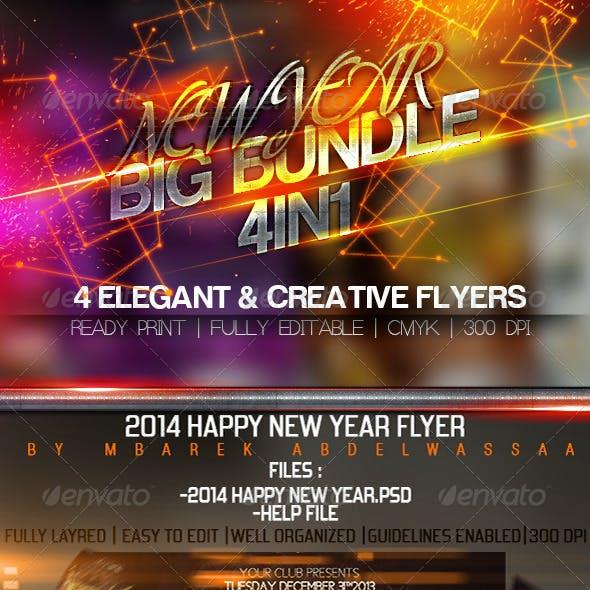 4in1 Elegant & Creative New Year flyers Bundle