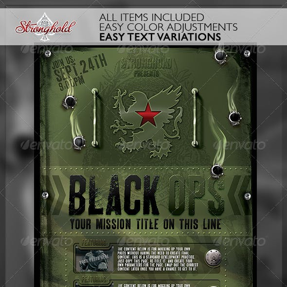 Vintage Black Ops Military Flyer Template
