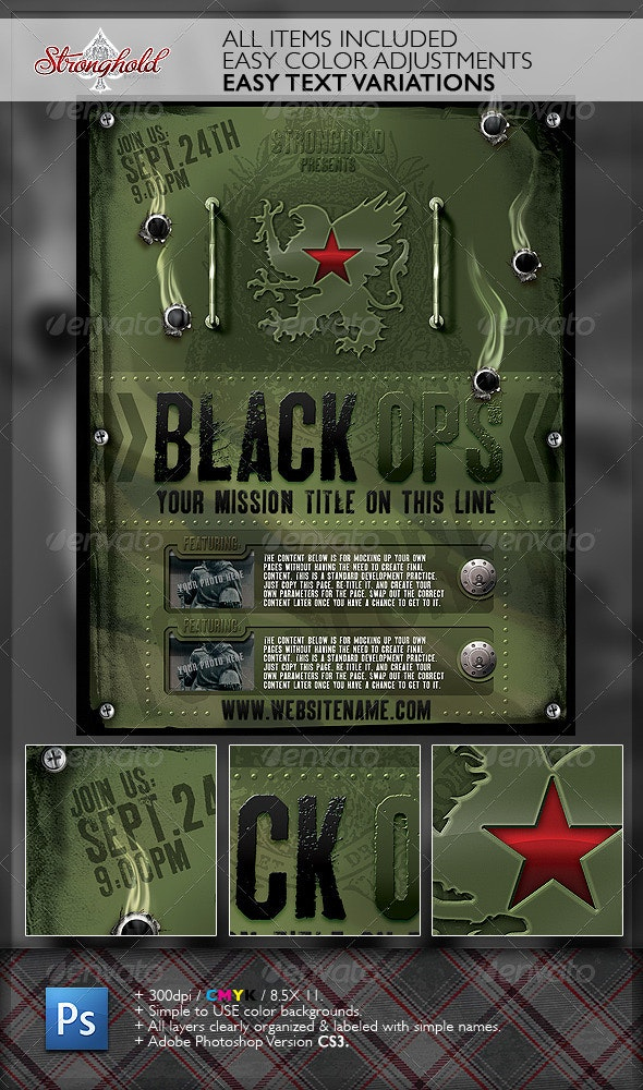 Vintage Black Ops Military Flyer Template - Flyers Print Templates