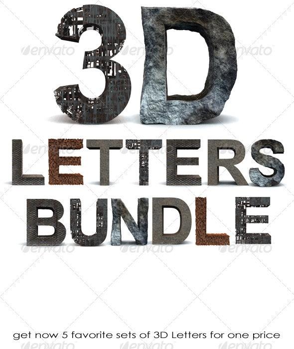 3D Letters Bundle - Text 3D Renders