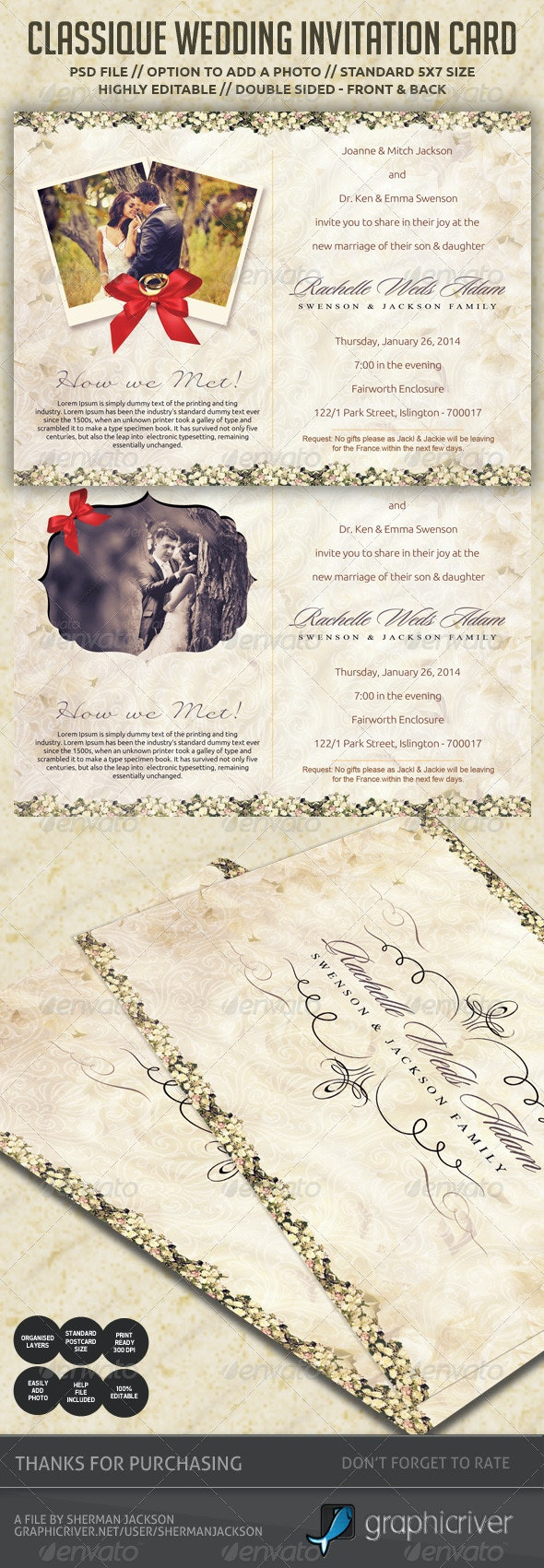 Classique Wedding Invitation / Postcard - Weddings Cards & Invites