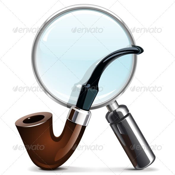 Vector Tobacco Pipe and Loupe