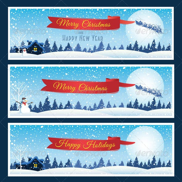 Horizontal Christmas and New Year Banners