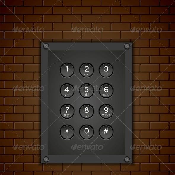 Phone Keypad on Brick Background
