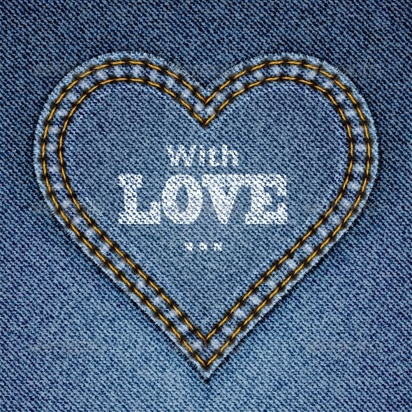 Abstract Blue Jeans Heart on Denim Background
