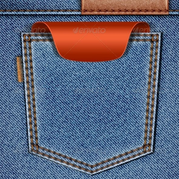 Back Jeans Pocket with Red Price Tag Label