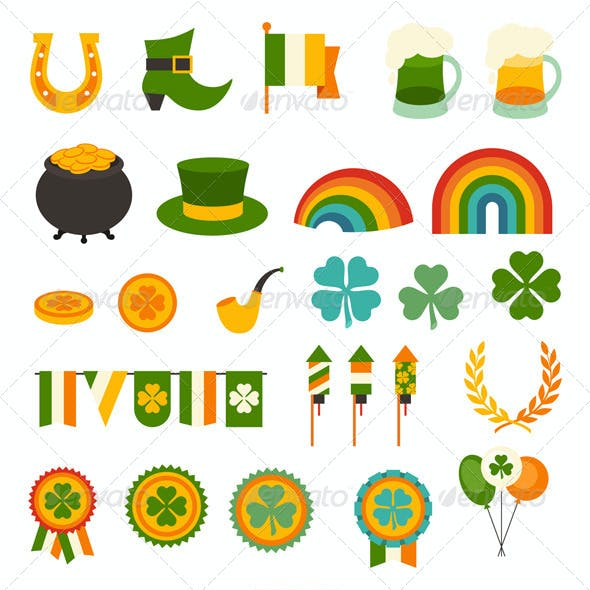 Saint Patrick's Day Backgrounds and Icons.