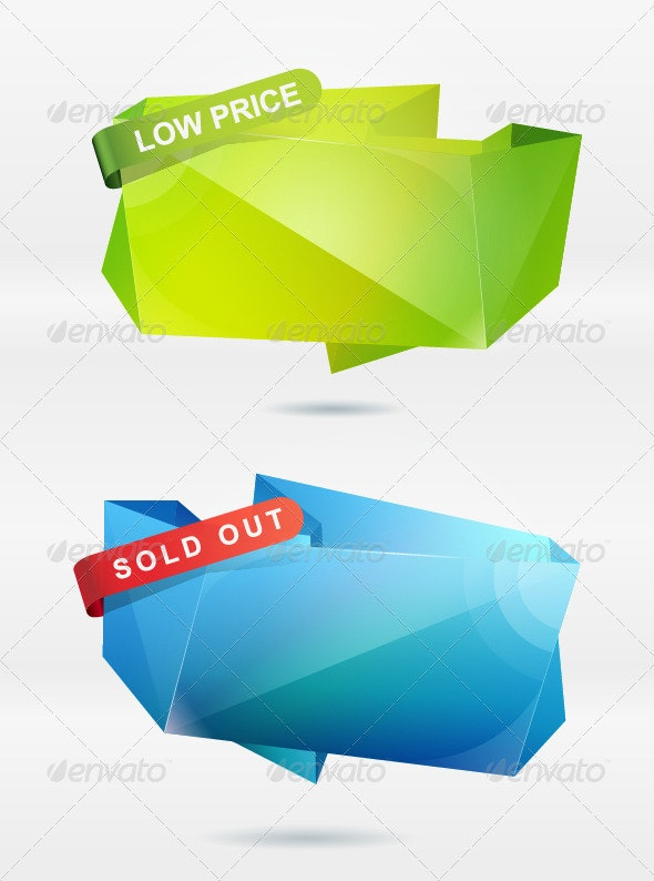 Abstract Origami Speech Bubble Vector Background - Abstract Conceptual
