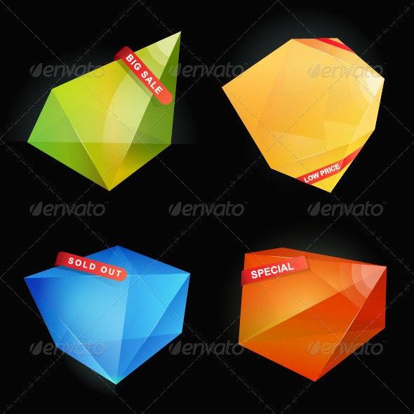 Abstract Origami Speech Bubble Vector Background - Abstract Conceptual