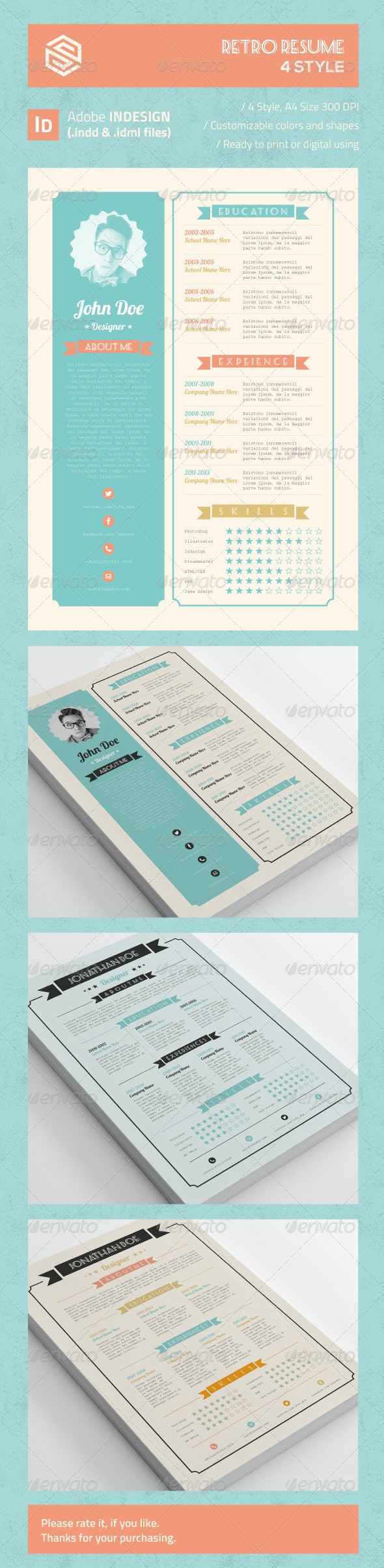 Retro Resume - Resumes Stationery