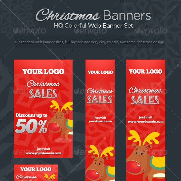 Christmas Banners - Colorful Web Banner Set