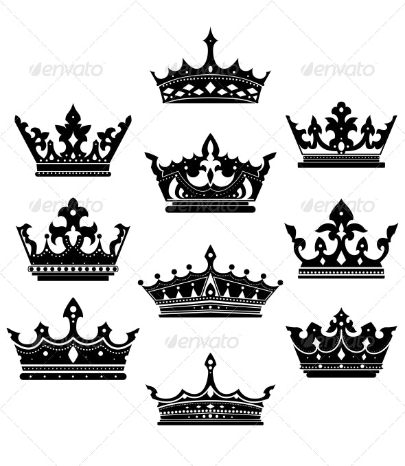 Black Crowns Set for Heraldry Design - Decorative Symbols Decorative