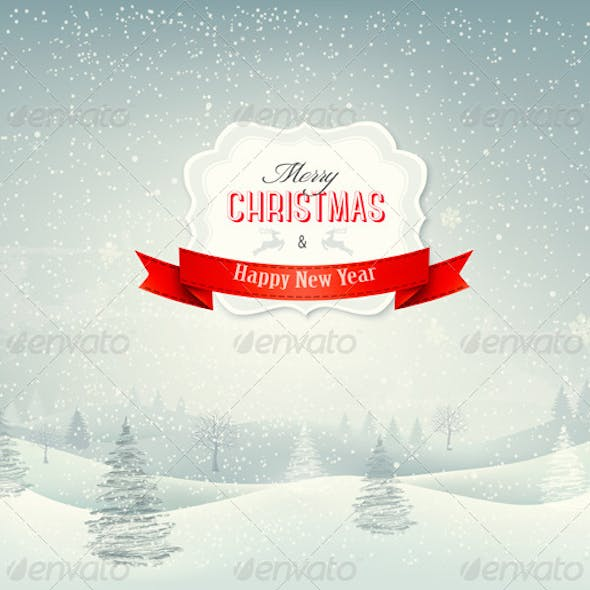 Holiday Christmas Background with Winter Landscape