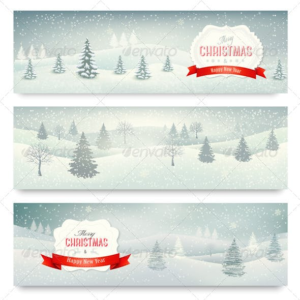 Three Christmas Holiday Landscape Banners