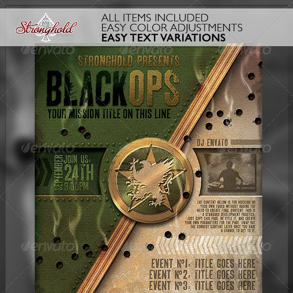 Vintage Black Ops Military Crest Flyer Template