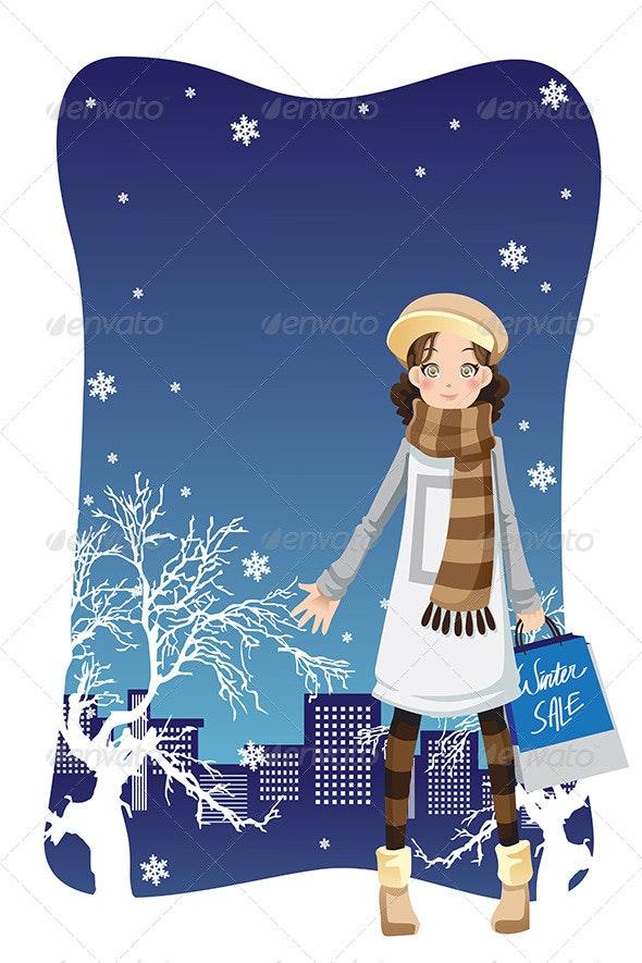 Shopping Winter Girl - Commercial / Shopping Conceptual