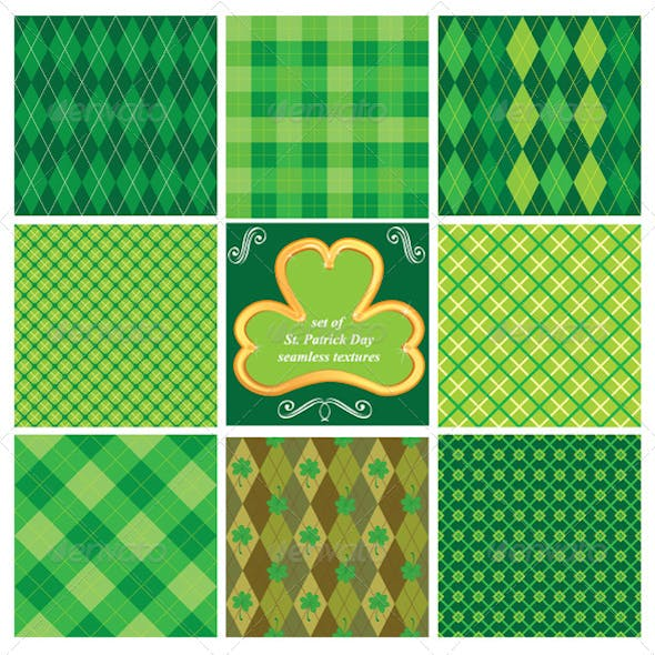 Set of Green Seamless Patterns for St Patricks Day