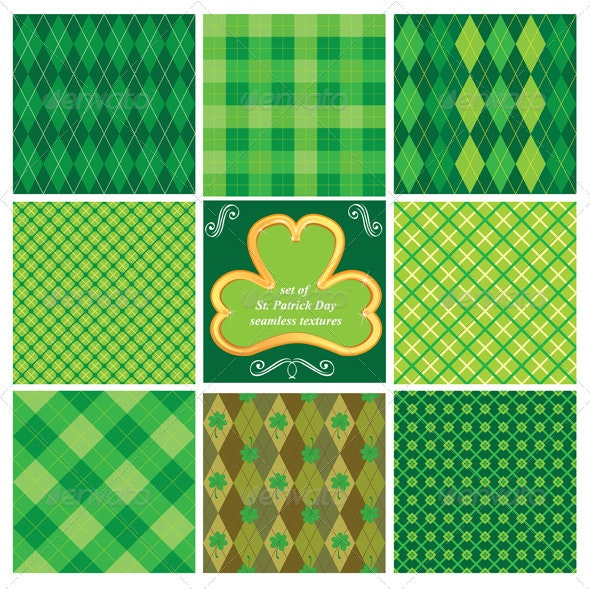 Set of Green Seamless Patterns for St Patricks Day - Patterns Decorative