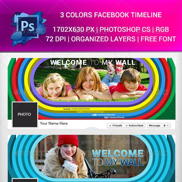 3 Colors Facebook Timeline  PSD